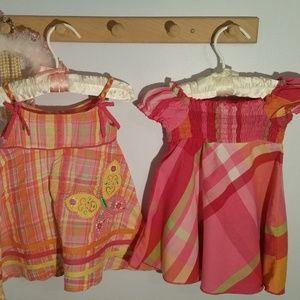 Pair of 2 Summer Dresses, 12 Months, Pink Plaid